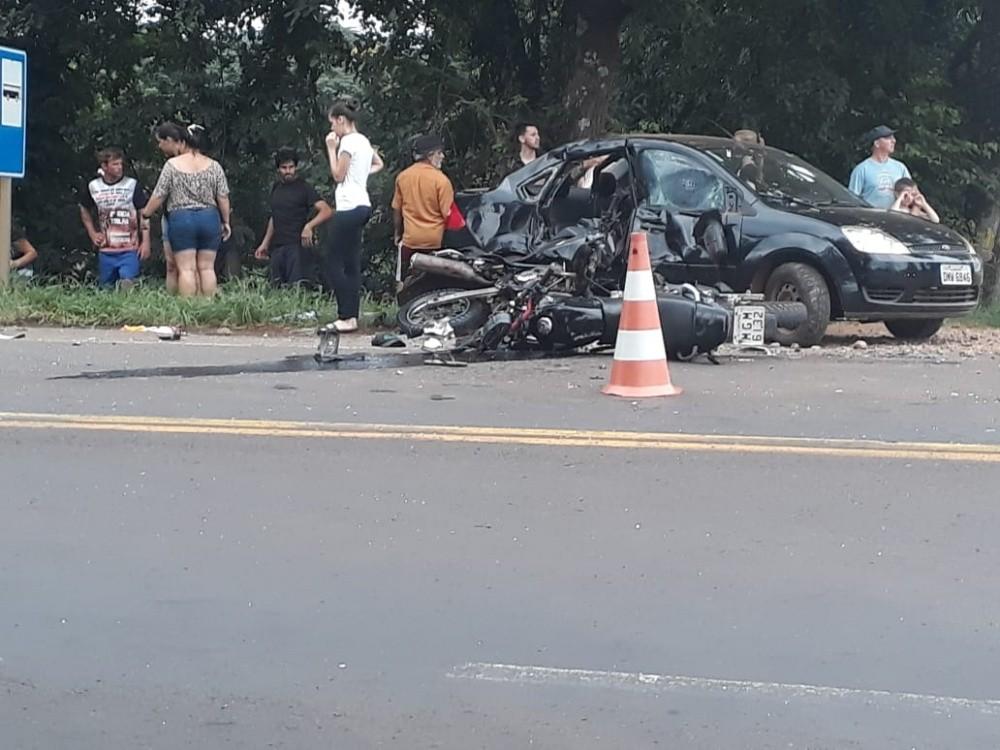 Tripla colisão deixa motociclistas feridos na BR-158 em Cunha Porã
